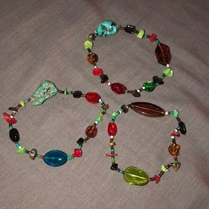 Handmade colorful rock bracelet trio